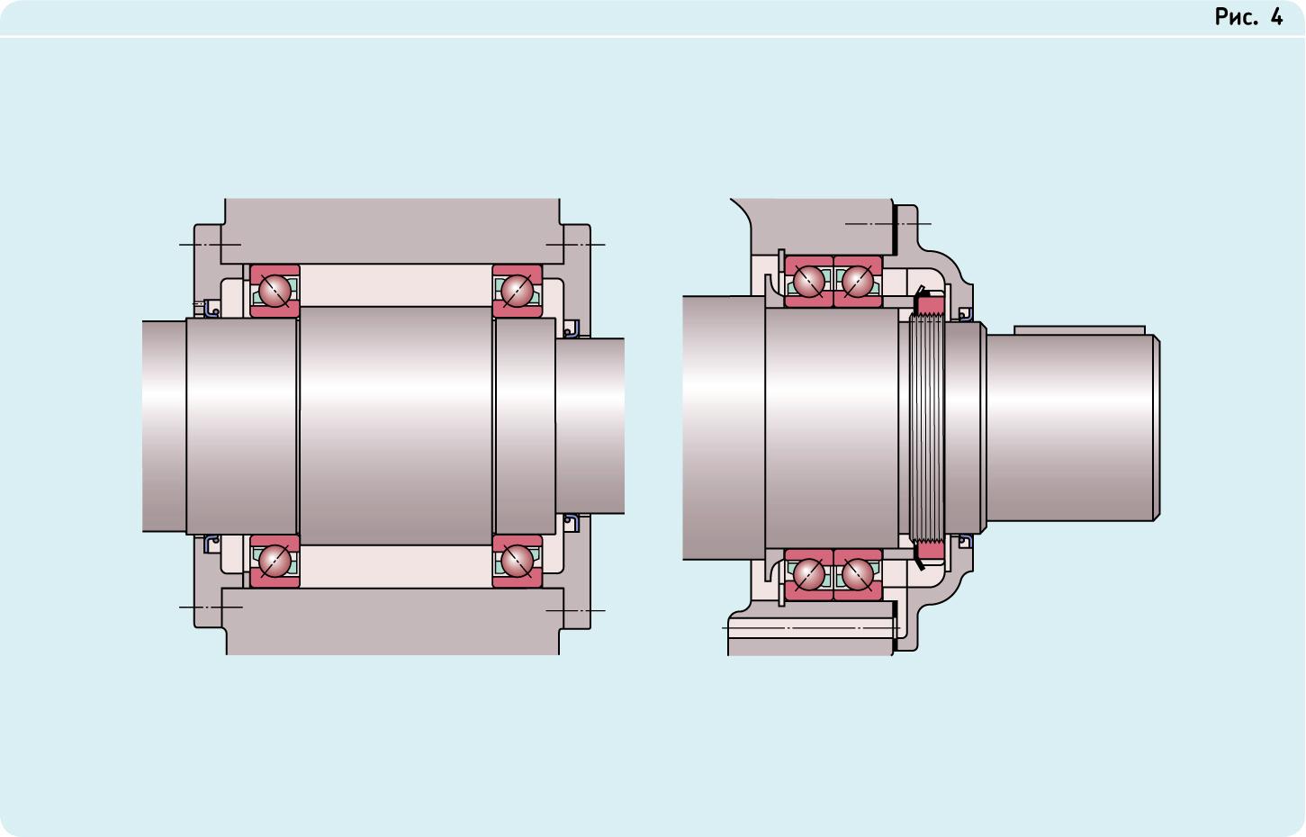Схемы установки радиально-упорных шариковых подшипников